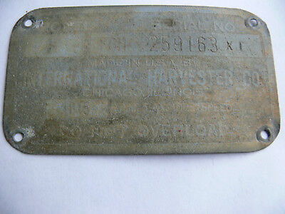 Farmall H Serial Number Plate # 259163 X1
