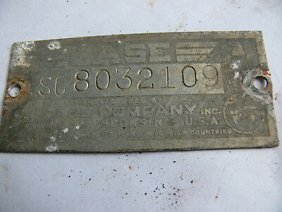 Case Sc Serial Number Plate # 8032109