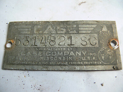 Case Sc Serial Number Plate # 5314821