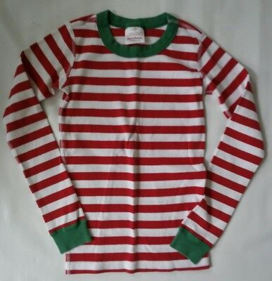 Hanna Anderson Kids Red/ White Stripped Pajama Top 140 (10)- Lot P53