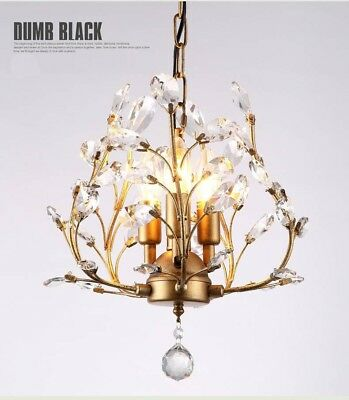 Antique Bronze 3 light Crystal Iron Chandelier Lamp Light Ceiling Fixture Rustic