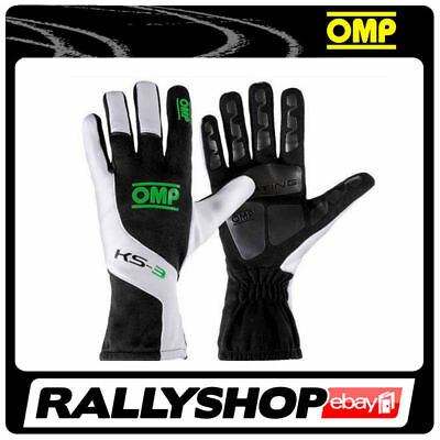 OMP KS-3 Gloves L Black-white Green Karting non-slip Kart Rally Race Driving