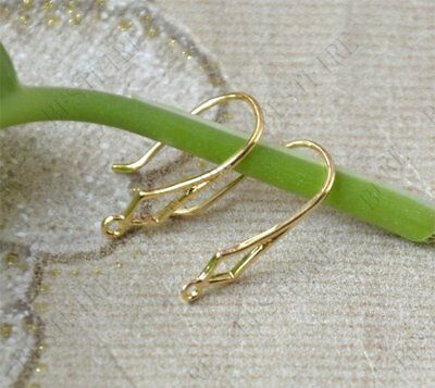 LOT OF 4 PIECES (2 PAIRS) 6x25 mm 24K YELLOW GOLD FILLED BRASS EARRING HOOKS