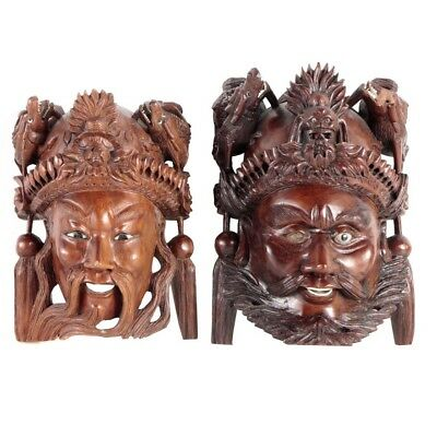 Set of 2 Antique Chinese Emperor Mask Hand Carved Wood