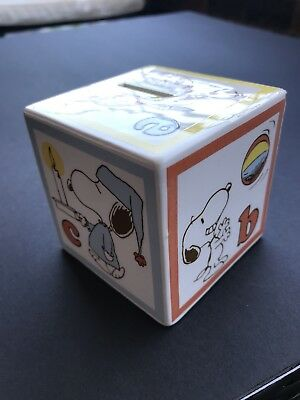Rare! Vintage PEANUTS Snoopy Alphabet ABC Ceramic Block Japan, Coin Piggy Bank