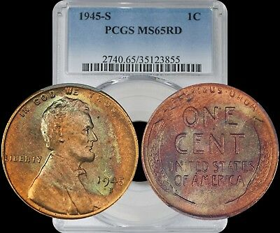 1945-S Lincoln Wheat Cent PCGS MS65 RD Bronze/Green Toned