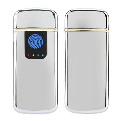 Fingerprint Touch USB Rechargeable Flameless Electric LED Lighter Windproof Hot