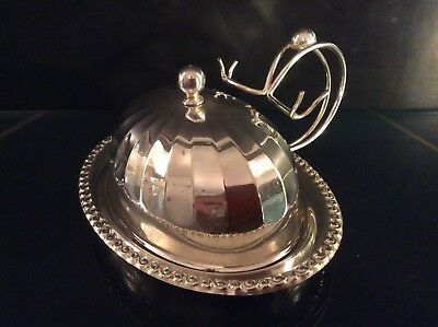 Antique Victorian English Silverplate Dome Lid Covered Butter Dish w/Knife Rest