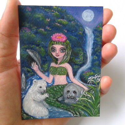 Mermaid flower mountain polar bear baby seal ACEO oil painting fantasy moon wate