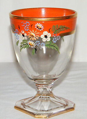 Antique vs Vtg Hand Painted Enamel BOHEMIAN ART GLASS GOBLET Orange/Gold Flowers