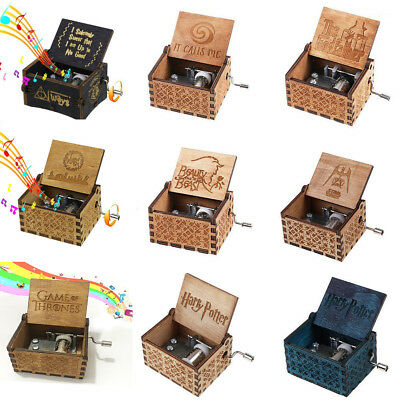 Wooden Music Box Harry Potter Game of Thrones Star Wars Engraved Toys Xmas Gifts