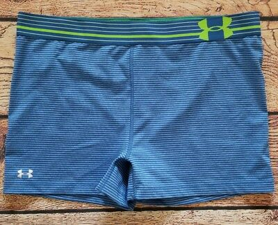 Womens Under Armour Base Layer Shorts Size Large Blue Striped