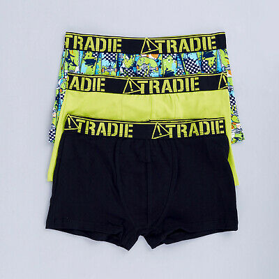 Boys Tradie 3 Pack Cotton Fitted Boxer Shorts Trunks Skater (SK3)