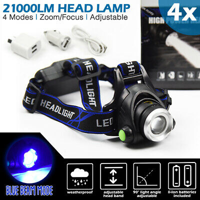 4x LED Headlamp 21000LM Rechargeable Lithium-Ion Head Light Torch Camping