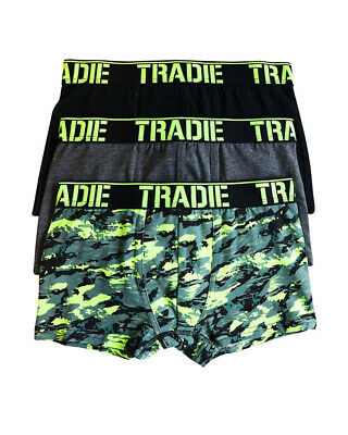 Boys Tradie 3 Pack Cotton Fitted Boxer Shorts Trunks Camo Design (SK3)