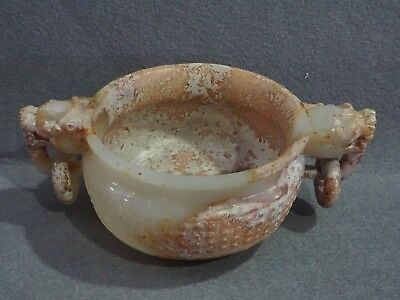 China Exquisite Hand-carved beast carving Hetian jade cup
