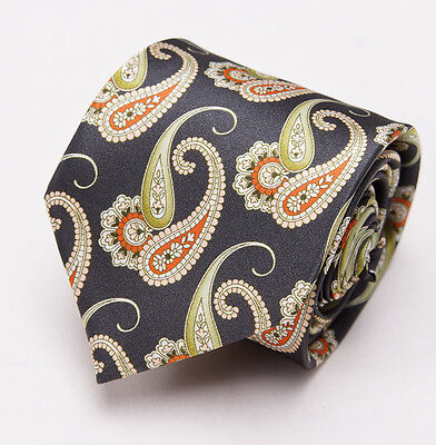 NWT $230 BRIONI Slim Satin Silk Tie Charcoal Black-Orange-Green Paisley Print