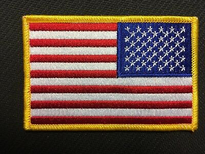 """REVERSE USA AMERICAN FLAG EMBROIDERED PATCH IRON SEW-ON GOLD BORDER 3 5/8"""" wide"""