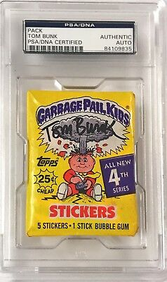 1986 Garbage Pail Kids Tom Bunk Series 4 Wax Signed Auto Pack PSA/DNA Slabbed