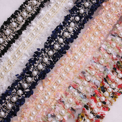 Supplies DIY Craft Handmade Embroidered Ribbon Lace Trim Fabric Pearl Beaded
