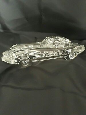 Cut Glass E type Jaguar ornament/paper weight.