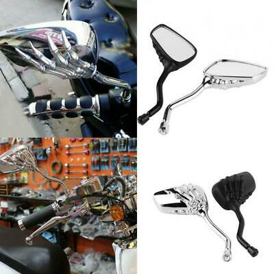2pcs Motorcycle Mirror Chrome Skull HAND Claw Side Rear View 8mm 10mm Universal