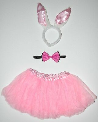 Bunny Rabbit Costume Women's Pink Tutu, White/Pink Ears, Pink/Black Bowtie CUTE