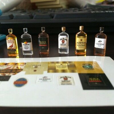 6 Doll House Mini 1:12 Wine Whiskey Bottles Set Shop Pub Bar Drink Accessory UK