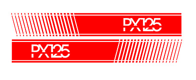 RED Stripe Style Stickers with PX125 To Fit Vespa PX & LML Side panels