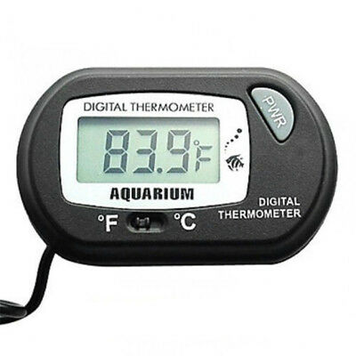 LCD Digital Fish Aquarium Water Tank Garden Pond Thermometer Gauge Black