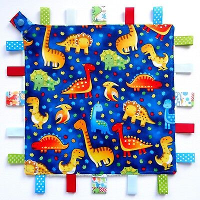Dinosaurs - Taggie Taggy Tag Security Blanket Toy Comforter dummy clip holder