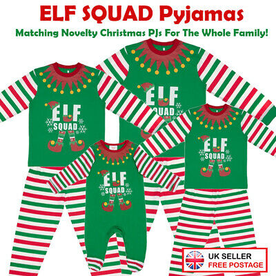 Elf Family Pyjamas Squad Christmas Mum Dad Children Baby Christmas Family PJ