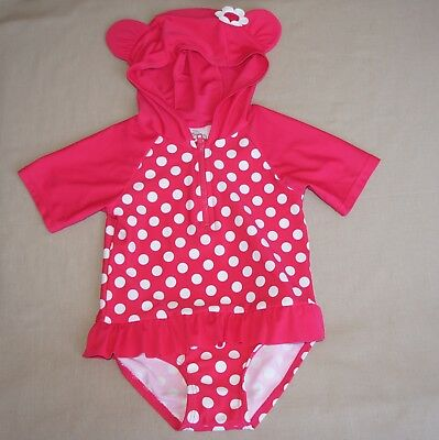 TARGET Bathers Girl, Baby Size 1 Pink White, Cute Hood with Ears Flower UV 50+