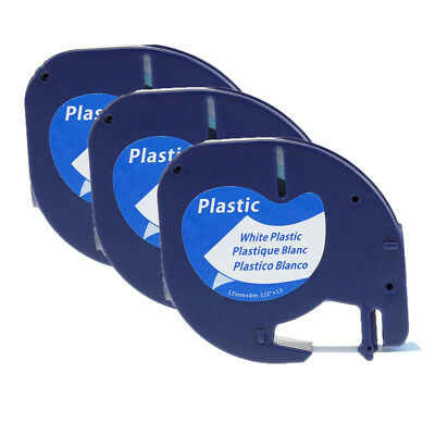 Compatible Dymo LetraTag 91331 plastic white 12mm LT 3PK label manager tapes 1/2