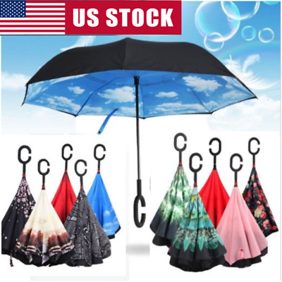 C-shaped Double Umbrella Self Stand Upside-down Layer Folding Inverted Windproof