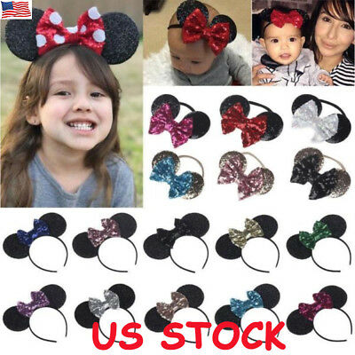 Mickey Minnie Mouse Ears Headband Alice Band Fancy Dress Spotted Bow Baby Girl
