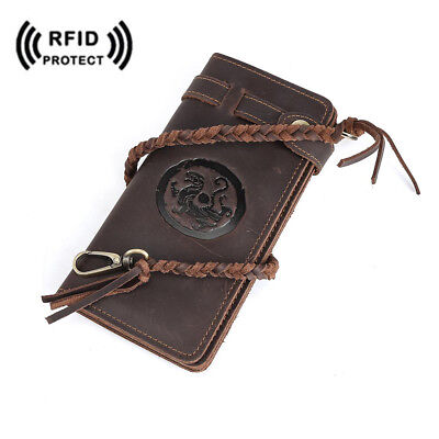 RFID Vintage Men Wild Style Real Leather Long Wallet Card Holder Bifolds Purses
