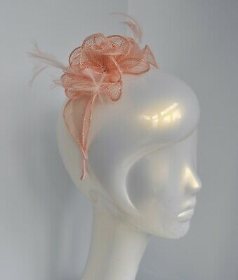 Salmon pink/pale peach/nude sinamay & feather fascinator/headband. Wedding/races