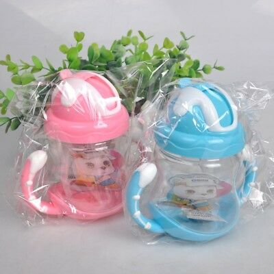 Toddler Babys Sippy Drinking Water Bottle Cup Straw Infant Children Anti Spill