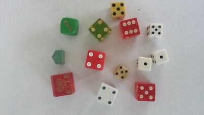 Lot Of 11 Various Dice, 1 Wooden Monopoly Hotel And 1 Wooden House