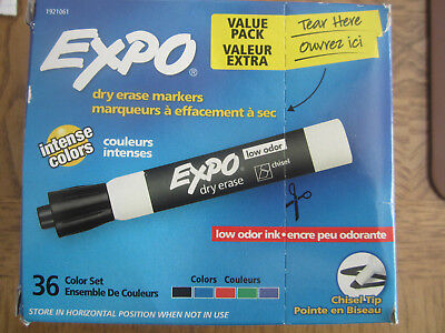 34 ct Value Pack Expo Chisel Tip Dry Erase Markers Assorted Colors Low Odor