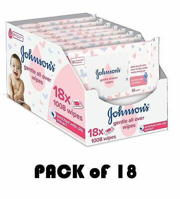 Pack Of 24 Johnson's Gentle Baby Cleansing Wet Wipes Soft  Box Johnsons