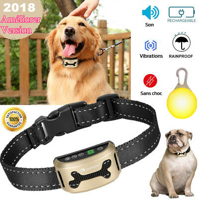 Collier Anti-Aboiement Rechargeable IPX7 Imperméable Ecran LCD Animal Bark