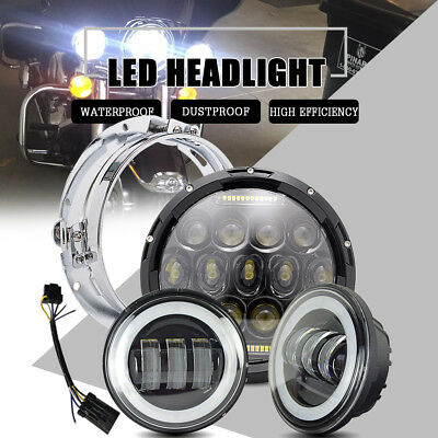 For Yamaha Road Star 1700 Halo 7 LED Round Motor 1PCS Headlight 1 Pair Fog light