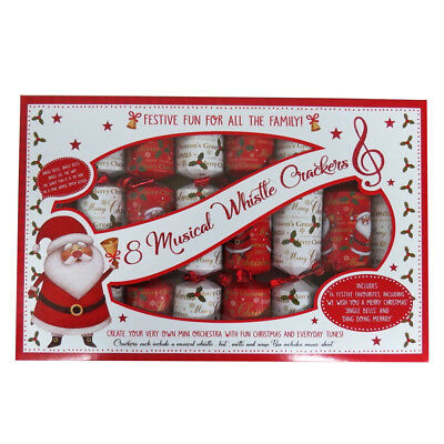 Christmas Musical Whistle Crackers and Game, Box of 8
