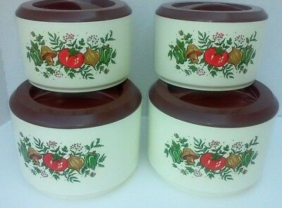 Vintage 4 Piece Canister Set- Spice of Life- Vegetable Print Retro Kitchen 1970s