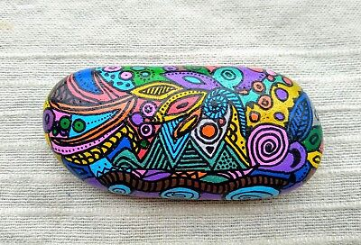 Painted stone abstract handpainted stone hippy spiritual gift decoration art