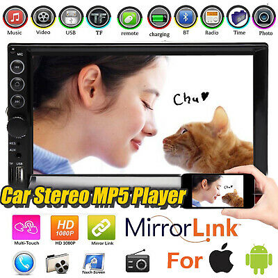 7'' HD 2DIN Bluetooth Touch Screen Car Stereo Radio Subwoofer MP5 USB/AUX/TF/FM