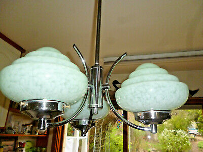 ANTIQUE ART DECO LARGE 3 BRANCH CHANDELIER MOTTLED GREEN with CHROME - 43cm span