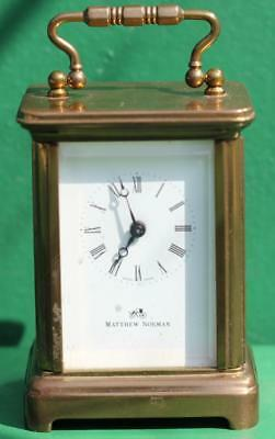 Mathew Norman Miniature 8 Day Swiss Carriage Clock Corniche Case Made 1942